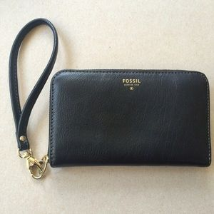 Fossil Wallet Phone Case IPhone Wristlet Black
